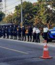 Agentes de la PNC por estado de Prevención en Malacatán decretado por el gobierno. (Foto Prensa Libre: PNC)