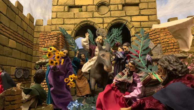 Las escenas presentadas evocan pasajes bíblicos de la época como el Domingo de Ramos. (Foto Prensa Libre: Cortesía José Miguel Asturias)