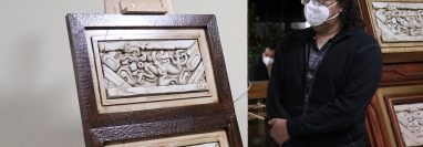 Algunos de los cuadros que se presentaron en la exposición de Jade Renacimiento. (Foto Prensa Libre: Héctor Cordero)