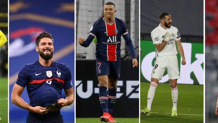 Erling Haaland, Olivier Giroud, Kylian Mbappé, Karim Benzemá y Robert Lewandoski son los máximos artilleros de la Champions League actual. Foto Prensa Libre: Agencias.