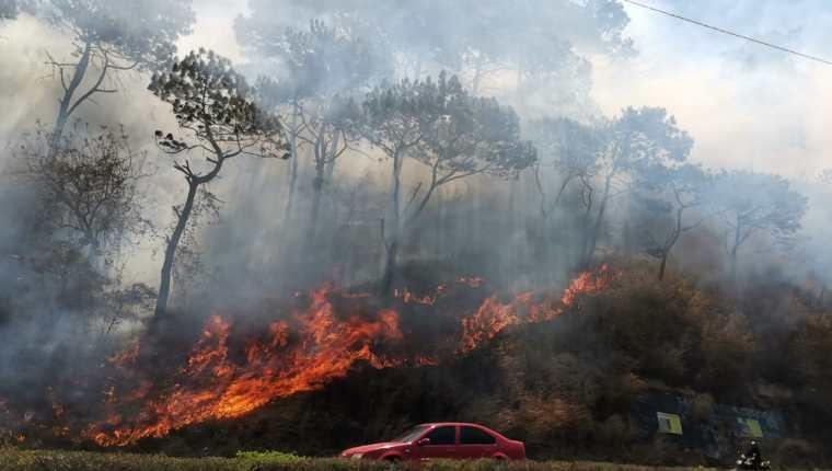El incendio se produjo por la quema de basura en el sector, según la comuna de Villa Nueva. (Foto Prensa Libre: Érick Ávila)