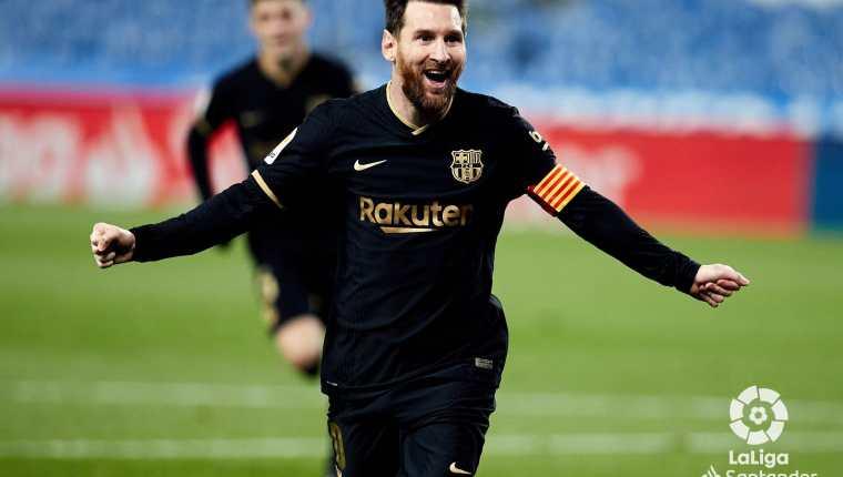 Lionel Messi festeja uno de los dos goles en la victoria del Barcelona frente a la Real Sociedad. (Foto Liga española).