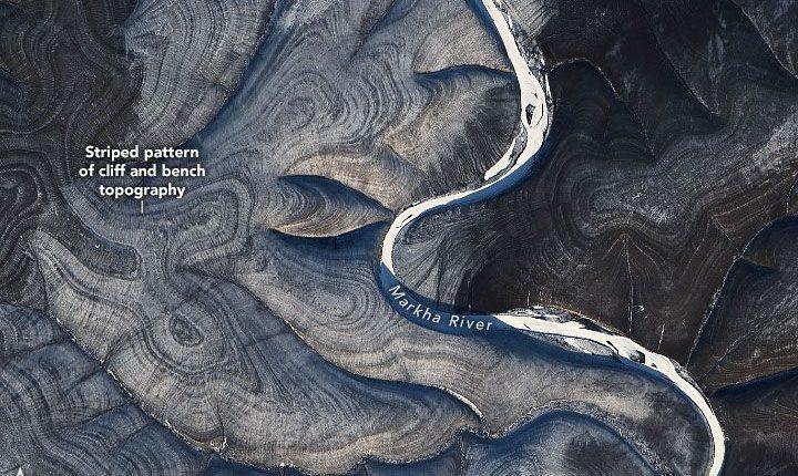 Las colinas arremolinadas en el norte de Rusia tienen a los científicos perplejos. (Foto: Observatorio de la Tierra de la NASA / Landsat 8)