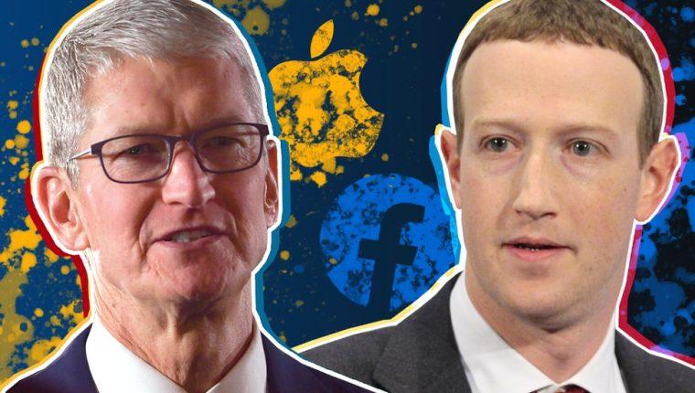 El presidente ejecutivo de Apple, Tim Cook, y el fundador de Facebook, Mark Zuckerberg, están en posturas encontradas por el tema de la privacidad en internet. GETTY IMAGES