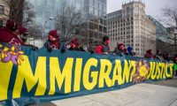 Washington (United States), 03/02/2021.- Immigrant activists and community members participate in a rally at Freedom Plaza in Washington, DC, USA, 03 February 2021. The activists demand that President Biden end family detention, reunify families separated by deportation and detention and push for an expedited citizenship path for essential workers, their families and all 11 million undocumented immigrants (Estados Unidos) EFE/EPA/SHAWN THEW