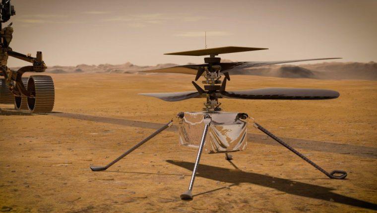 El pequeño helicóptero podrá sobrevolar en las próximas horas el suelo marciano. (Foto Prensa Libre: EFE)