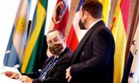 El presidente de Guatemala, Alejandro Giammattei, en la sesión plenaria de jefes de Estado y de Gobierno de Iberoamérica, como parte del programa de la XXVII Cumbre Iberoamericana. (Foto Prensa Libre: EFE)