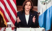 Washington (Usa), 26/04/2021.- US Vice President Kamala Harris speaks during a virtual bilateral meeting with Guatemalan President Alejandro Giammattei(not pictured), in the Vice President's Ceremonial Office in the Eisenhower Executive Office Building on the White House campus, about the migration crisis, in Washington, DC, USA, 26 April 2021. (Estados Unidos) EFE/EPA/Oliver Contreras / POOL