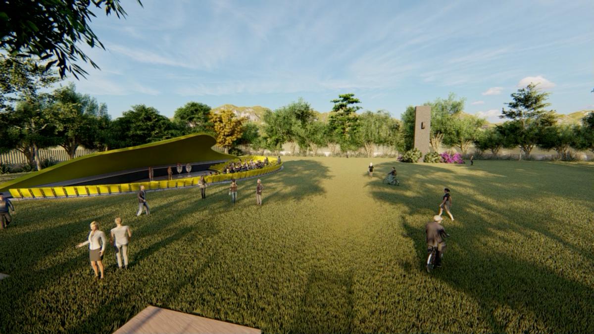 Maqueta tridimensional de un área del parque bicentenario diseñado para la colonia Bellos Horizontes, zona 21.