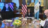 La vicepresidenta de EE. UU., Kamala Harris, se reunió de forma virtual con el presidente Alejandro Giammattei. (Foto Prensa Libre: Andrea Domínguez)