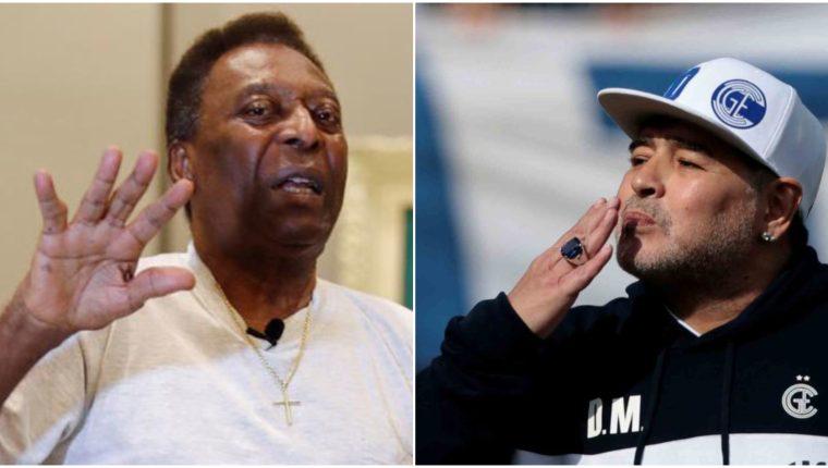 La leyenda viviente del futbol mundial, Pelé, recibió la vacuna contra el coronavirus y recordó con periodistas a su rival en las estadísticas, Diego Armando Maradona. (Foto Prensa Libre: EFE)