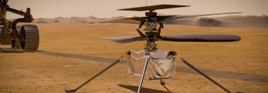El Ingenuity, de unas 4 libras y del tamaño de un balón de fútbol, lleva cámaras y micrófono incorporados para documentar el vuelo desde su perspectiva. (Foto Prensa Libre: NASA)
