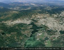 Imagen en tercera dimensión del lago de Amatitlán y la ciudad de Guatemala, desde Google Earth. (Foto Prensa Libre: Google Earth)