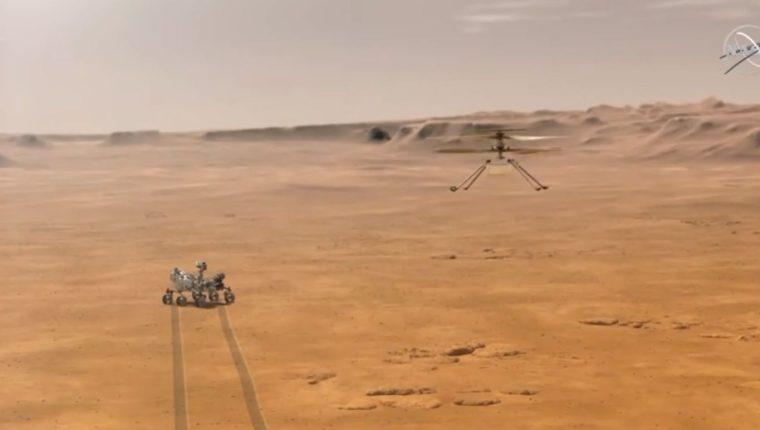 La NASA hizo volar el lunes con éxito el helicóptero Ingenuity en el cielo de Marte, según datos enviados por el aparato desde el planeta rojo. (Foto Prensa Libre: NASA)