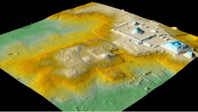 Imagen de LiDAR de los grupos 6D-III y 6D-XXI, en los que se encontraron vestigios del vínculo estrecho de Tikal con Teotihuacán. (Foto Prensa Libre: cortesía de Pacunam LiDAR Initiative / Thomas Garrison)