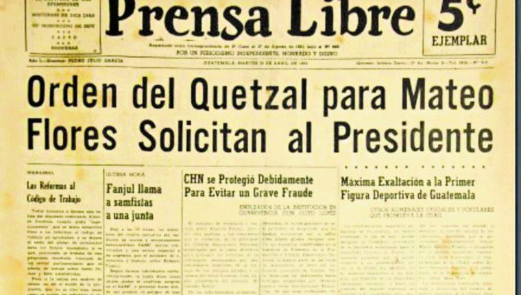 El 22 de abril de 1952 Circulaban noticias del recibimiento a los atletas Doroteo Guamuch Flores,  Luis H. Velásquez y Guillermo Rojas, quienes destacaron en la 56a. edición del Maratón de Boston.  Asimismo, de la Orden del Quetzal para Flores. (Foto Prensa Libre: Hemeroteca Prensa Libre).