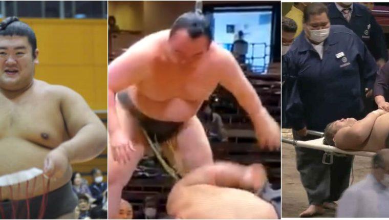 El luchador japonés de sumo, Hibikiryu, impactó con la cabeza directamente al dohyo Foto Prensa Libre: Tomada de @TheSumoSoul/Twitter