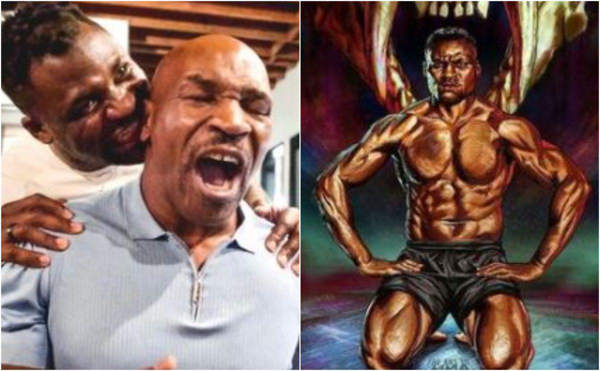 """Campeón de los Pesos Pesados de UFC intenta """"morderle"""" la oreja a Mike Tyson y el vídeo se vuelve viral"""