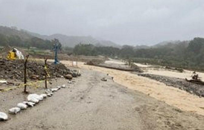 Cauce del Río Santiago, en Gualán, Zacapa, se ha desbordado por lluvias registradas en las últimas horas. (Foto Prensa Libre: Conred)