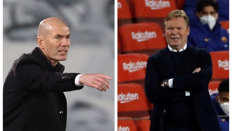 Zidane y Koeman vuelven a chocar en el clásico español. (Foto Prensa Libre: EFE)
