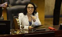 La diputada por el partido Nuevas Ideas, Suecy Callejas, dirige la Sesión de Instalación de la Asamblea Legislativa de El Salvador, para el período 2021-2024, hoy San Salvador (El Salvador). Los 84 diputados electos en los comicios del pasado 28 de febrero en El Salvador tomaron posesión este sábado en la Asamblea Legislativa para el período 2021-2024, lapso en el que el oficialismo tendrá mayoría. (Foto Prensa Libre: EFE)