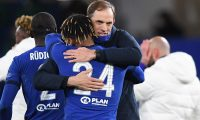 London (United Kingdom), 05/05/2021.- Chelsea manager Thomas Tuchel celebrates with player Reece James after winning the UEFA Champions League semi final, second leg soccer match between Chelsea FC and Real Madrid in London, Britain, 05 May 2021. (Liga de Campeones, Reino Unido, Londres) EFE/EPA/Neil Hall