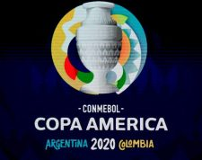 A screen displays the logo of the Copa America 2020 during the draw of the football tournament at the Convention Centre in Cartagena, Colombia, on December 3, 2019. - The Copa America 2020 football tournament will be held jointly by Argentina and Colombia next year from June 12 to July 12. Asian champions Qatar and previous winner Australia will participate as invited guest teams. (Photo by Juan BARRETO / AFP)
