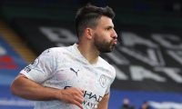 Manchester City's Argentinian striker Sergio Aguero celebrates scoring his team's first goal during the English Premier League football match between Crystal Palace and Manchester City at Selhurst Park in south London on May 1, 2021. (Photo by Catherine Ivill / POOL / AFP) / RESTRICTED TO EDITORIAL USE. No use with unauthorized audio, video, data, fixture lists, club/league logos or 'live' services. Online in-match use limited to 120 images. An additional 40 images may be used in extra time. No video emulation. Social media in-match use limited to 120 images. An additional 40 images may be used in extra time. No use in betting publications, games or single club/league/player publications. /