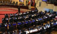 General view taken during the inauguration of the new Legislative Assembly, with a majority of members of the Nuevas Ideas (NI) ruling party, in San Salvador, on May 1, 2021. - Salvadorean President Nayib Bukele will consolidate his power as of May 1 when the new parliament, dominated by his party, New Ideas (NI), takes office without a force to counterbalance it. (Photo by Stanley ESTRADA / AFP)