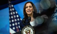 US Vice President Kamala Harris delivers virtual remarks at the 51st Annual Washington Conference on the Americas at the White House in Washington, DC on May 4, 2021. (Photo by Nicholas Kamm / AFP)
