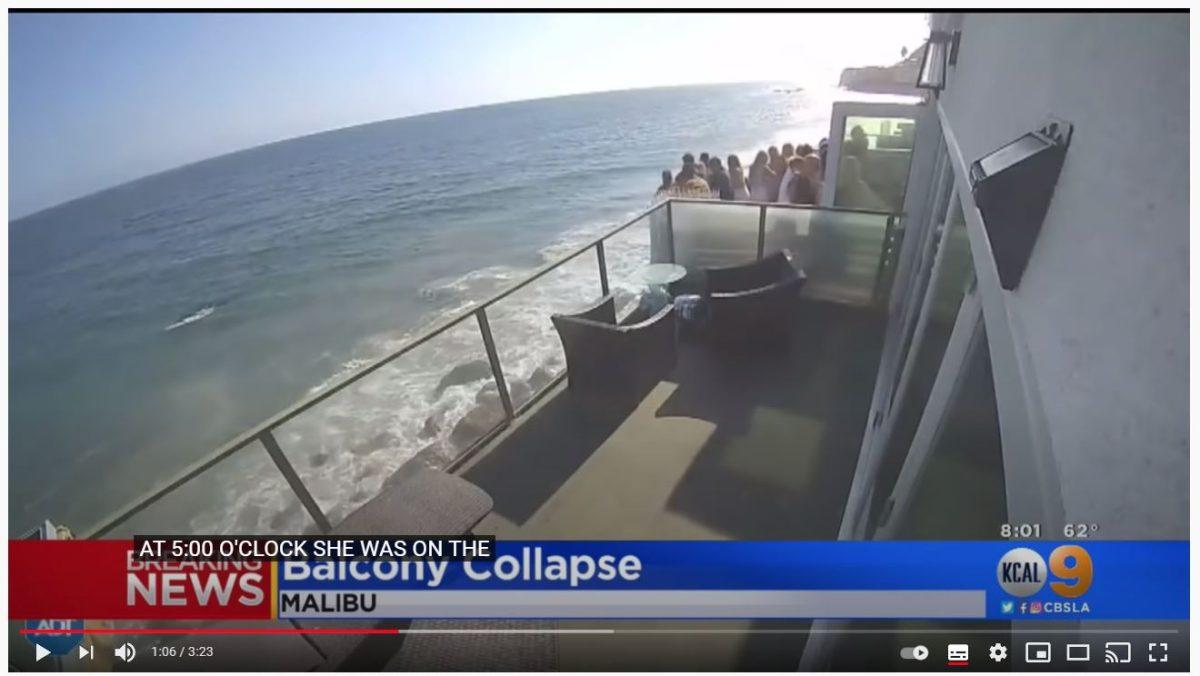 Video: balcón se desploma durante fiesta en una casa en la playa y una multitud cae al mar