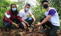 Varios jóvenes participaron en la jornada de reforestación en Ciudad Nueva, zona 2. (Foto Prensa Libre: Elmer Vargas)