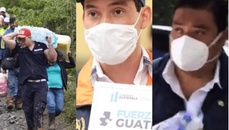 Funcionarios y empleados de gobierno utilizaron los daños que dejó Eta para figurar en las redes sociales. Fotografía: Prensa Libre.
