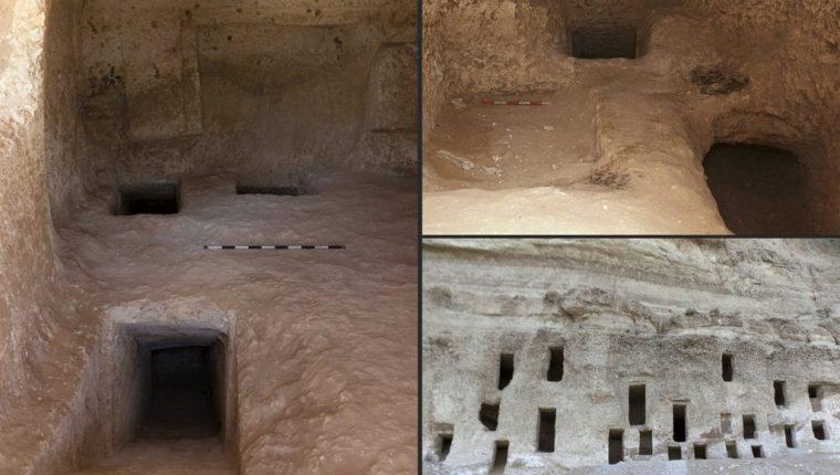 Vista de las tumbas descubiertas en Egipto, y algunas estaban en salas funerarias. (Foto Prensa Libre: AFP)