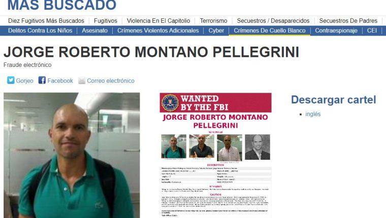 El guatemalteco Jorge Roberto Montano Pellegrini es buscado por el FBI. (Foto Prensa Libre: FBI)
