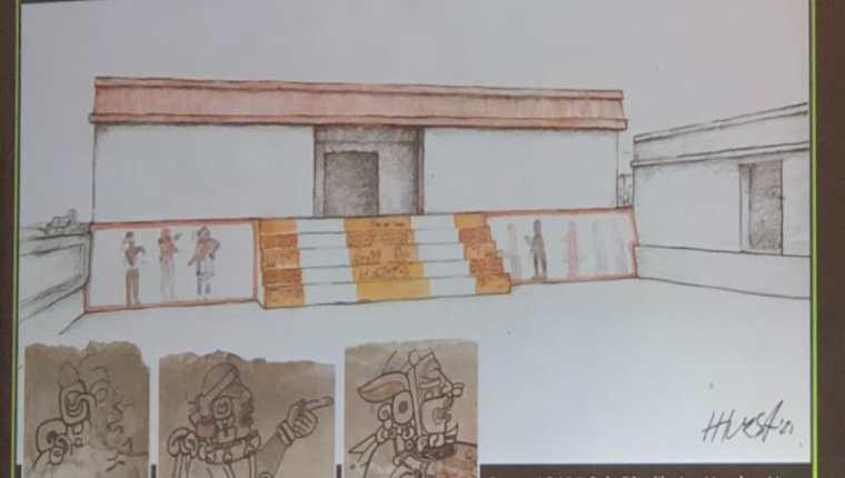Los tres personajes del mural de juego de pelota maya están relacionados con la oscuridad y el renacimiento. (Foto Prensa Libre: Ministerio de Cultura)