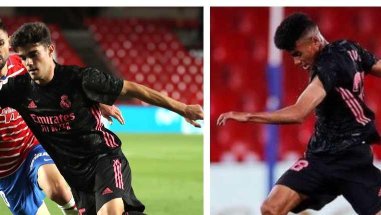 Miguel Gutiérrez y Marvin Park, durante el partido entre Real Madrid y Granada. (Foto Prensa Libre: EFE e Instagram @marvinnpark)