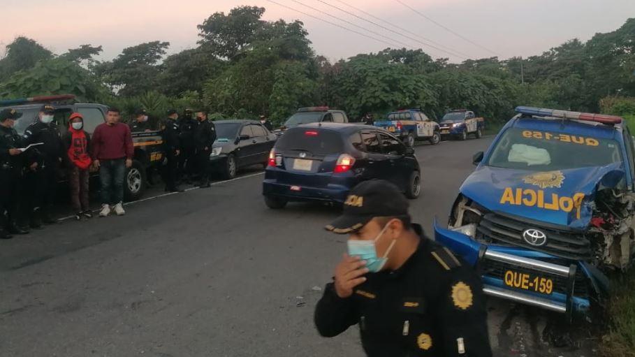Choque entre autopatrulla de la PNC y microbús deja cinco heridos en Colomba, Quetzaltenango