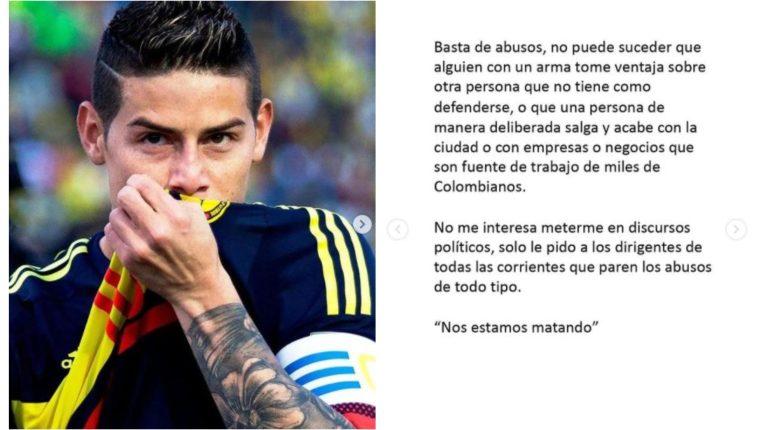James Rodríguez publicó un mensaje en redes sociales sobre la situación en Colombia. (Foto Prensa Libre: Instagram @jamesrodriguez10)