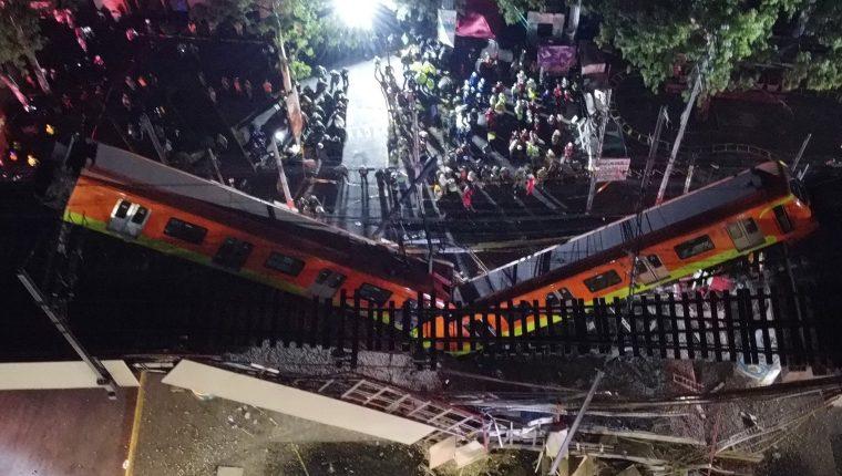 Vista aérea que muestra el colapso de los vagones del metro en la Ciudad de México. (Foto Prensa Libre: EFE)