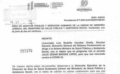 Vacunan contra el covid-19 a un reo de la cárcel de Matamoros por orden del juez de Mayor Riesgo E