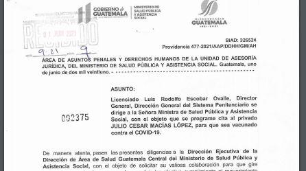 """""""César Montes"""" fue vacunado en la cárcel de Matamoros mediante una orden judicial. (Foto Prensa Libre:)"""