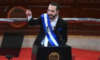 Salvadoran President Nayib Bukele delivers his annual address to the nation marking his second year in office at the Legislative Assembly in San Salvador on June 1, 2021. (Photo by MARVIN RECINOS / AFP)