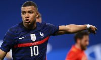 France's forward Kylian Mbappe gestures during the friendly football match between France and Wales at the Allianz Riviera Stadium in Nice, southern France on June 2, 2021 as part of the team's preparation for the upcoming 2020-2021 Euro football tournament. (Photo by FRANCK FIFE / AFP)