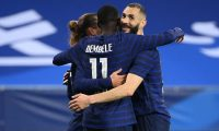 France's forward Ousmane Dembele (11) celebrates with France's forward Karim Benzema after scoring his team's third goal during the friendly football match between France and Wales at the Allianz Riviera Stadium in Nice, southern France on June 2, 2021 as part of the team's preparation for the upcoming 2020-2021 Euro football tournament. (Photo by FRANCK FIFE / AFP)
