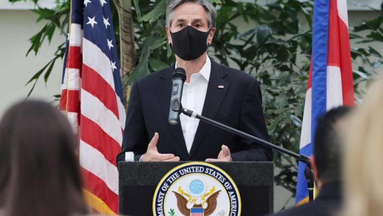 Antony Blinken, secretario de Estado de EE. UU., durante su visita a Costa Rica. (Foto Prensa Libre: AFP)