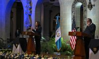 """US Vice-President Kamala Harris (L) and Guatemalan President Alejandro Giammattei deliver a joint press conference at the Culture Palace in Guatemala City on June 7, 2021. - Harris arrived in Guatemala Sunday, bringing a message of """"hope"""" to a region hammered by Covid-19 and which is the source of most of the undocumented migrants seeking entry to the United States. (Photo by Johan ORDONEZ / AFP)"""