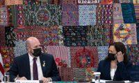 El embajador de Estados Unidos, William Popp acompañó a la vicepresidenta Kamala Harris en las reuniones que sostuvo en el país.  (Foto Prensa Libre: AFP)