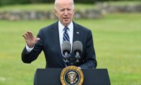 US President Joe Biden delivers a speech on the COVID-19 pandemic, in St Ives, Cornwall on June 10, 2021, ahead of the three-day G7 summit being held from 11-13 June. - G7 leaders from Canada, France, Germany, Italy, Japan, the UK and the United States meet this weekend for the first time in nearly two years, for the three-day talks in Carbis Bay, Cornwall. (Photo by Brendan SMIALOWSKI / AFP)