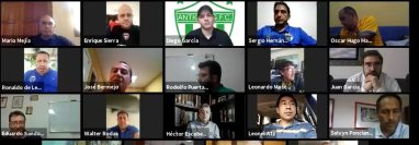 La asamblea de la Liga Nacional fue en forma virtual. Participaron representantes de los doce equipos del futbol profesional de Guatemala. Foto Prensa Libre: Captura de pantalla.